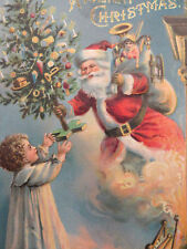 Antique Christmas Postcard Santa Claus Emerging Fireplace Hearth Chimney Tree