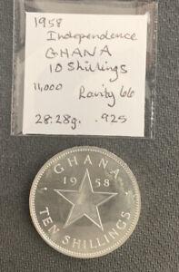 Ghana 1958 10 Shillings / 28 Gr .925 Silver Proof & *No Reserve!