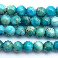 Blue Apatite Smooth Round Blue Aqua 6mm Semi Precious Stone Q34 Beads per Pkg