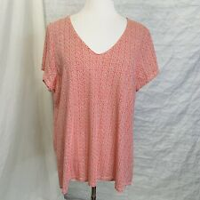 J.Jill Perfect Pima Women's XL Top Tunic Red White Geometric V-Neck #Y2