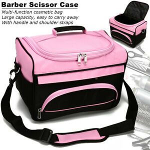 HAIRDRESSING BEAUTICIAN MOBILE BAG HAIR TOOL CASE/CARRY STRAP PINK/BLACK