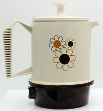 Regal Poly Perk 2-4 Cup Travel Coffee Pot Percolator Case MCM retro daisy flower