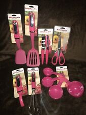 KitchenAid Hot Pink 10 Pc Turner Whisk Peeler Can Opener Shear Summersunset New