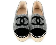 Chanel Grey Tweed & Velvet Espadrilles Size 39 With Box And Receipt