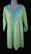 Women's Bella TU Green White Embroidered Cotton 3/4 Sleeve Tunic Dress Size 12