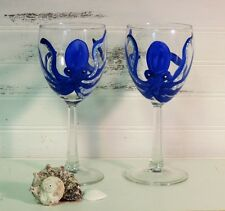 Custom Hand Painted Blue Octopus Wine Glasses, Set Of Two, Beachy Gift, Nautical