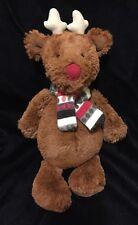 Jellycat Bashful Reindeer Plush Soft Toy Brown Red Scarf Stripe Christmas Xmas