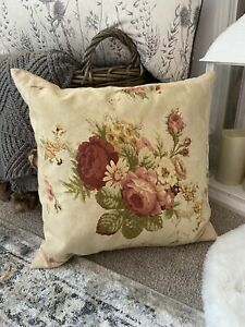 Bespoke Natural LINEN Cabbage Roses Floral Feather Cushion Shabby Chic
