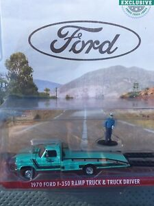 Greenlight  HOBBY EXCLUSIVE 1970 Ford F-350 Ramp Truck  w/ figure turquoise