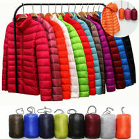 Women's Packable Down Jacket Ultralight Stand Collar Coat Winter  Puffer Hoodie