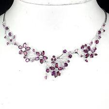 Sterling Silver 925 Genuine Natural Pink Rhodolite Cluster Necklace 18 Inch
