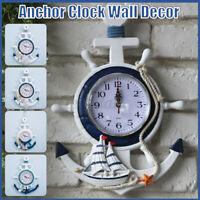 Mediterranean Anchor Wall Clock Ship Steering Wheel Fishing Net/ Starfish
