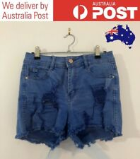 CUTE DISTRESSED DENIM SHORTS - BLUE ACID WASH MID-RISE - SUPRE SIZE 10 (NEW)