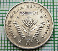 SOUTH AFRICA GEORGE VI 1939 THREEPENCE 3 PENCE, SILVER HIGH GRADE