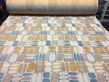 TOP QUALITY RETRO GEOMETRIC GOLD BLUE PATTERNED UPHOLSTERY FABRIC MATERIAL SALE!