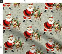 Christmas Santa Claus Deer Wreaths Snow Flakes Spoonflower Fabric by the Yard