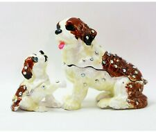 Bejeweled Enameled Puppy Trinket Box/Figurine With Rhinestones-Saint Bernard Set