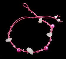Braccialetto brasiliana amicizia filo rosa fucsia -perle quarzo rosa 20787-FS5C