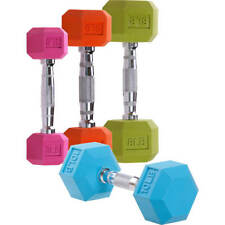 CAP RUBBER COLOR COATED HEX DUMBBELL 3LB 5LB  8LB 10LB WEIGHTS BUNDLE SET KIT