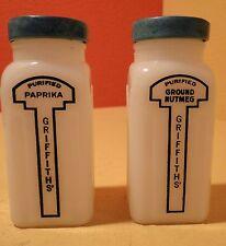 2 VTG Griffiths' Spice Jar Milk Glass Black Mid-Century Turquoise Blue Lid Retro