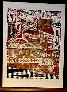 Original Embossed Abstract Art Collograph Press Print Signed Shankweiler 1984