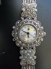 Vintage Sterling Silver & Rhine Stone Band & Bezel Ladies Watch