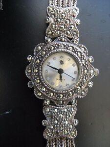 Vintage Sterling Silver & Rhine Stone Band & Bezel Ladies Watch