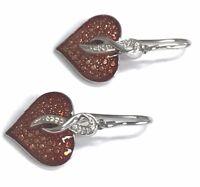 Sterling Silver 925 Love Heart Red Enamel CZ Twiste Drop Dangle Hook Earrings