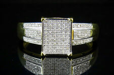 Ladies Yellow Gold Sterling Silver Square Real Diamond Engagement Ring 0.50CT