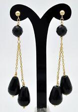 New 14K Solid Gold 15x 9 Natural black onyx Teardrop Drop Dangle Earrings