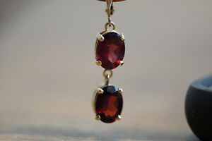 Gorgeous Red Ruby Earrings Drop Dangle Women Engagement Jewelry 14K E5.3 3.3gram