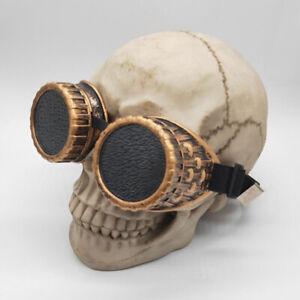 Steampunk Black Lens Thick Lined Framed Adjustable Belt Goggles