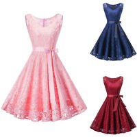 Women's Vintage Lace A Line Formal Wedding Cocktail Evening Party Swing Dress