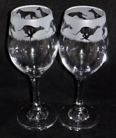 "New Etched ""GREYHOUND"" Wine Glass(es) - Free Gift Box - Large 310mls Wine Glass"