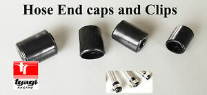 STAINLESS STEEL BRAIDED FUEL HOSE END FINISHER RUBBER CAPS WITH CLIPS PUSH ON