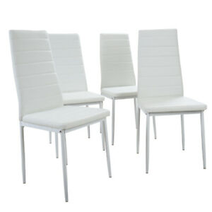 Set of 4 White Dining Chairs for Dining Room Kitchen Home Furniture