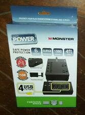 Monster Safe Power Protection -Computer/Office- 6 Outlets/4 USB Ports/4ft Cord