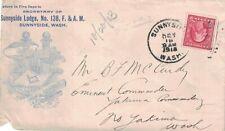 1913 Sunnyside, Washington Cancel on a Cover with F. & A. M. Masonic Cachet ~