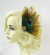 Mustard Yellow Gold Green Peacock Feather Fascinator Hair Clip 1920s Races 7716