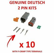10 x DEUTSCH 2 Pin Connector Kits With F Crimp Terminals Male Female Plugs