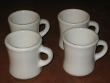 LOT x 4 ANTIQUE COFFEE CUP MUG HEAVY RESTAURANT WARE DINER C HANDLE NAVY WHITE
