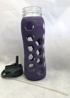 Lifefactory Glass Water Bottle w/ silicone sleeve Purple - 22 oz Lid with Straw