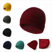 Soft Ribbed Beanie Knit Ski Cap Skull Hat Warm Solid Color Winter Windproof Hats