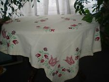 Vintage Hand-Embroidered Ivory Cotton Tablecloth with Multi-Color Flowers