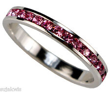 Pink Ice 1 carat Eternity Band Platinum overlay size 8