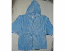 Kids Hooded Bathrobe 100% COTTON Blue Towel Size:2 Blue Satin Trim Belt Pockets