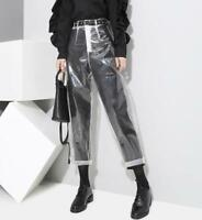 Transparency Women Slim Clear Pants Casual Trousers Lady High Waist Straight Leg