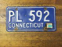 Vintage LICENSE PLATE CONNECTICUT CT Car Tags PL 592 Retro Classic Man Cave ☆USA
