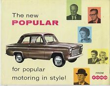 FORD 100E POPULAR & DE LUXE SALOON 1959 FACTORY UK SALES BROCHURE & PRICE LIST