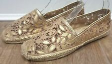 TORY BURCH Gold Natural Metallic Leather Flat Espadrille Sandals Shoes UK6 NEW!